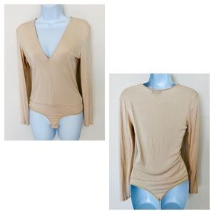 NWT! BEBE BUNDLE KHAKI & CREAM BODYSUITS!